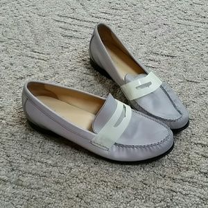 Cole Haan silver penny loafers